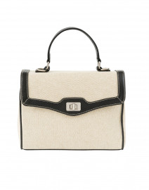 Lauren Black Leather and Linen Bag