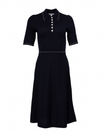 Liv Navy Cotton and Wool Knit Dress