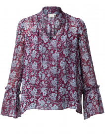 Tilton Maroon and Blue Paisley Print Blouse