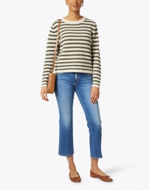 Allude - White and Cedar Wool Cashmere Striped Sweater