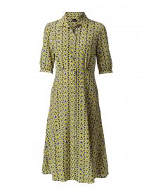 Yellow and Blue Geometric Print Silk Shirt Dress