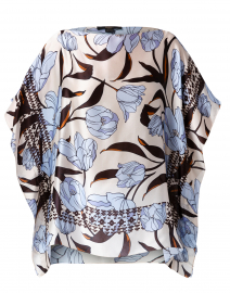 Blue and White Floral Silk Top