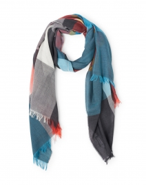 Charcoal, Turquoise and Orange Checked Wool Scarf