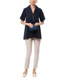 Hinson Wu - Betty Navy Short Sleeve Button Down Stretch Cotton Shirt