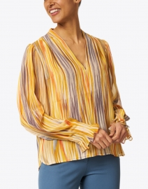 Santorelli - Marcel Yellow and Blue Multicolored Georgette Blouse