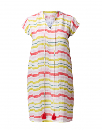 Watercolor Citrus Stripe Linen Dress