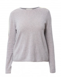 Racer Grey Cashmere Sweater with Striped Sleeves