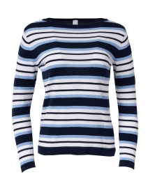 Navy, Blue and White Striped Pima Cotton Sweater
