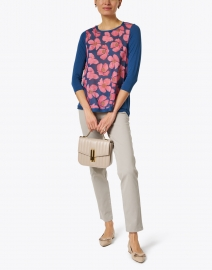 WHY CI - Pink and Navy Floral Printed Cotton Silk Top