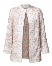 Ikat Sand Embroidered Linen Jacket
