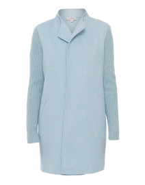 Mist Pale Blue Wool Cashmere Coat