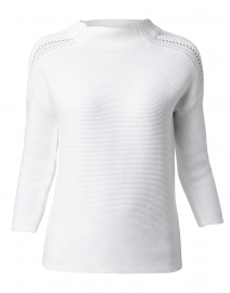 White Textured Cotton Sweater