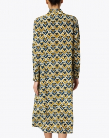 Aspesi - Green and Teal Fan Printed Silk Shirt Dress
