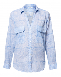 Moon Blue Paisley Cotton Button Down Shirt