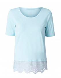 Light Blue Eyelet Hem Cotton Top