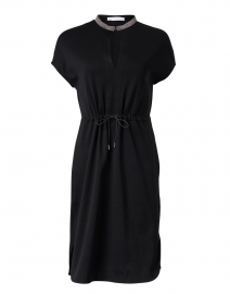 Black Brilliant Embellished Jersey Dress
