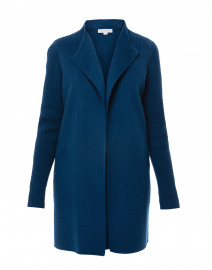 Winter Teal Blue Wool Cashmere Coat