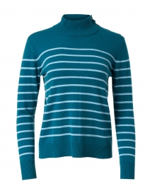 Juniper and Light Blue Stripe Cashmere Sweater