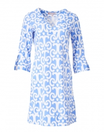Megan Perwinkle Blue and White Ikat Print Dress