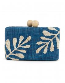 Noreen Blue Embroidered Raffia Clutch