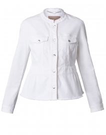 White Denim Peplum Jacket