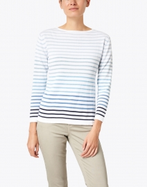 Blue - Multi Blue Striped Cotton Sweater
