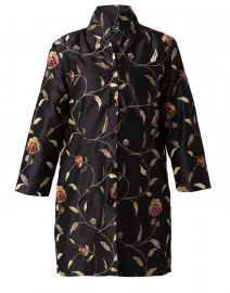 Rita Black Floral Embroidered Silk Jacket
