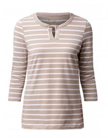 Khaki and White Striped Cotton Top
