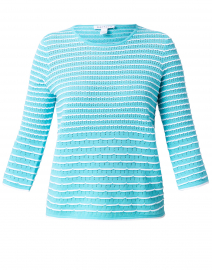Breeze Blue and Optic White Cotton Scallop Stitch Sweater