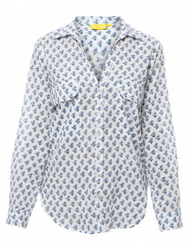 Olly Guy White and Blue Floral Cotton Button Down Shirt
