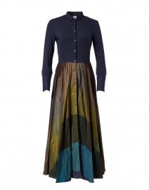 Marti Navy and Teal Taffeta Shirt Dress