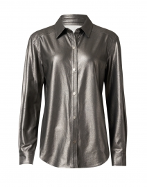 Rygg Dark Grey Stretch Vegan Leather Shirt