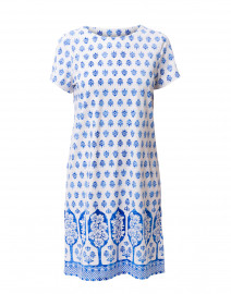 Ella White and Blue Foulard Printed Dress