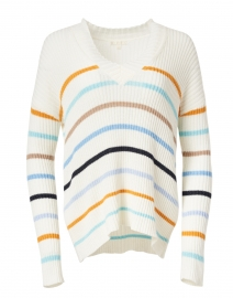 Multi Striped Stretch Cotton and Linen Sweater