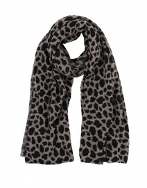 Beige and Black Animal Print Cashmere  Scarf