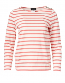 Coral and White Striped Jersey Top