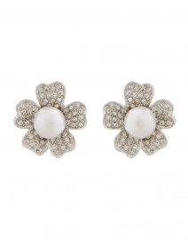 Silver and Crystal Flower Clip-On Earring