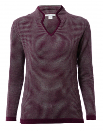 Grey and Bordeaux Houndstooth Cotton Sweater