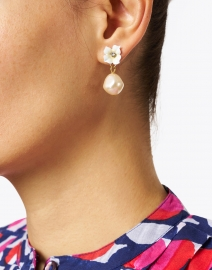Jennifer Behr - Soledad Flower and Champagne Pearl Drop Earrings