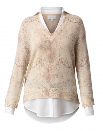 Beige Animal Printed Sweater with White Underlayer