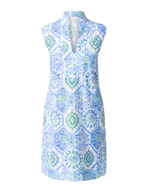 Kristen Blue and White Mosaic Tile Print Dress