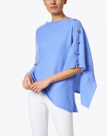 Cortland Park - French Blue Cashmere Ruana with Gold Button Detail