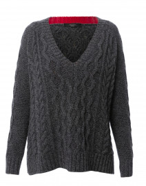 Zaffiro Dark Grey Cable Knit Sweater