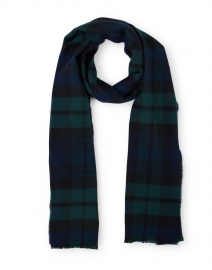 Navy and Green Tartan Extra Fine Wool Scarf