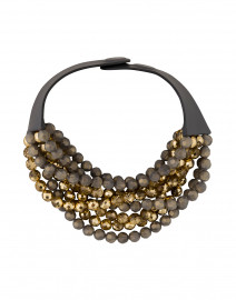 Bella Two Tone Grey and Gold Beaded Necklace