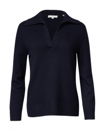 Navy Wool and Cashmere Polo Sweater
