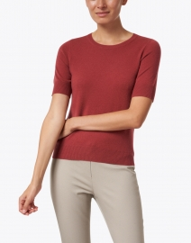 Repeat Cashmere - Terracotta Red Knit Cashmere Top