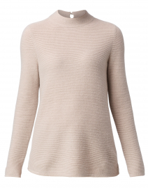 Light Beige Cashmere Sweater with Pearl Buttons