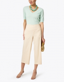 Vince - Pale Peach Cropped Wide Leg Linen Pant