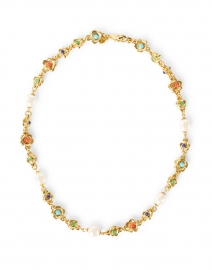 Gold Multicolor and Pearl Cabochons Flowers Necklace